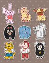 Animal stickers Stock Image