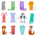 Animal stickers. Vector isolated image of funny animals