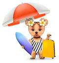 Animal in swimsuit with umbrella, baggage and surf