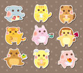 Animal tea time stickers Stock Images