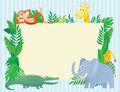 Animal themed illustration with copy space blank sign board for text Stock Photos