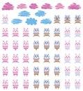 Animal toy stripe cat bear rabbit set Royalty Free Stock Photo