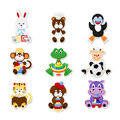 Animal toys a set of vector icons cute animals in kids style Stock Images