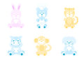 Animal toys a set of vector icons cute animals in kids style Royalty Free Stock Photography