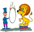 Animal trainer with lion and a ring of the fire cartoon Royalty Free Stock Photo