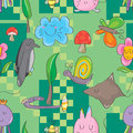 Animal two color seamless pattern illustration design colors green background Stock Photography