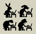 Animal using laptop silhouettes four animals rabbit dog turtle and frog cartoon good use for symbol sticker design or any design Royalty Free Stock Photos