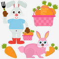 Animal Vector Icons : Rabbit Bunny with Carrots Stock Images