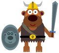 Animal viking illustration of a gorilla dressed like a while holding a shield and a sword Stock Photography