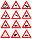 Animal warning traffic signs Royalty Free Stock Images