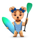 Animal wearing swimsuit and hold surf and paddle