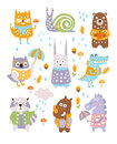 Animal Woodland Autumn Vector Set Royalty Free Stock Photo