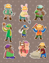 Animal worker stickers Royalty Free Stock Image