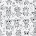 Animal Zodiac Grey Line Paint Seamless Pattern Royalty Free Stock Photo