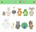 Animal Zoo, part three Funny small plush animals. cartoon Vecto