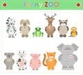 Animal Zoo, part two Funny small plush animals. cartoon Vector Royalty Free Stock Photo