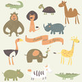 Animals in africa childish illustration of Royalty Free Stock Image