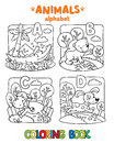 Animals alphabet or ABC. Coloring book Royalty Free Stock Photo