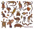 Animals drawings aboriginal australian style Royalty Free Stock Photo