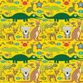 Animals Australia snake, turtle, crocodile, alliagtor, kangaroo, dingo. Seamless pattern on green background. Vector
