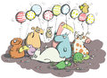 Animals with balloons and sweets illustration is in eps mode Stock Image