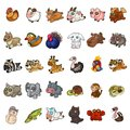 Animals, birds, pets soft stuffed toy set. 30 icons isolated in white background. Vector in cartoon style
