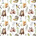 Animals, birds - rabbits, squirrel, owl, hedgehog in meadow grass. Seamless zoo background. Watercolor in sketch style