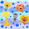Animals and bubbles a group of happy playing with Royalty Free Stock Photo