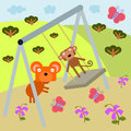 Animals can swing illustration of playing at a Royalty Free Stock Photo