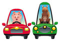 Animals in the car: Pig and Horse. Royalty Free Stock Photo