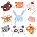 Animals carnival mask vector festival decoration masquerade and party costume cute cartoon head decor celebration