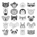 Animals carnival mask vector set festival decoration masquerade and party costume cute cartoon head decor