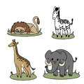 Animals cartoon representations of african Stock Photo