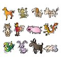 12 Animals of Chinese Calendar. Cartoon style. Royalty Free Stock Photo