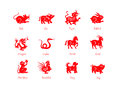 Animals of the chinese zodiac in red Royalty Free Stock Photo