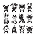 12 Animals Chinese Zodiac Signs Icons Set, Monochrome Royalty Free Stock Photo
