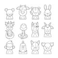 12 Animals Chinese Zodiac Signs Outline Icons Set Royalty Free Stock Photo