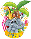 Animals in the circus illustration of on a white background Royalty Free Stock Photography