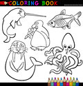 Animals for Coloring Book or Page Stock Photos