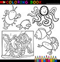 Animals for Coloring Book or Page Stock Photo