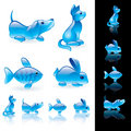 Animals crystal icon set Stock Photo
