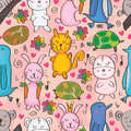 Animals Drawn Seamless Pattern Stock Images