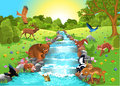 Animals drinking water cartoon coming to the brook to drink Stock Images