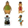 Animals with hats vector imags od collection of Royalty Free Stock Photos