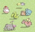 Animals having fun no on green background illustration is in eps mode Stock Photo