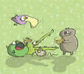 Animals having fun no on green background illustration is in eps mode Stock Photography