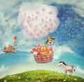 Animals in hot air ballon illustration of playing a balloon Stock Photo