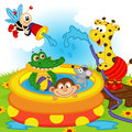 Animals in inflatable pool Royalty Free Stock Photo