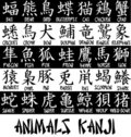 Animals kanji Royalty Free Stock Photo