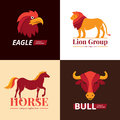 Animals Logo Design 4 Flat Icons Royalty Free Stock Photo